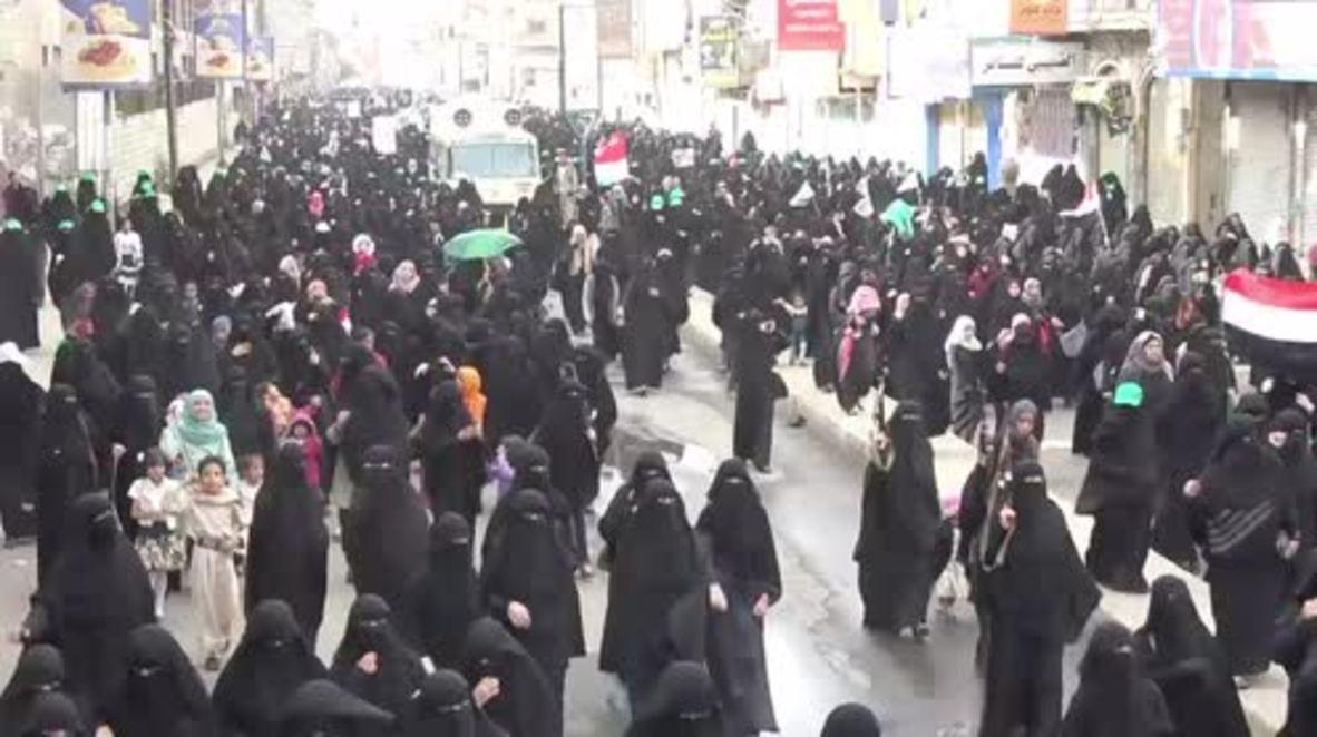 Yemen: Women's march against Saudi-led airstrikes held in Sana'a