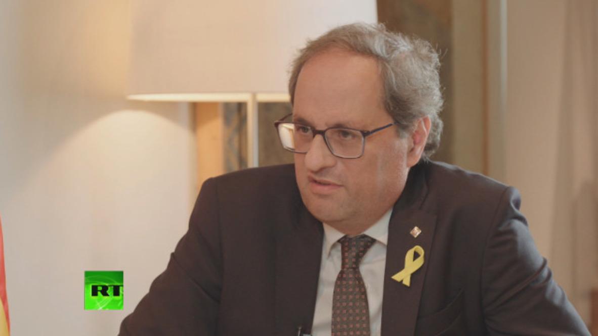 Spain: Catalan President Torra demands release of political prisoners
