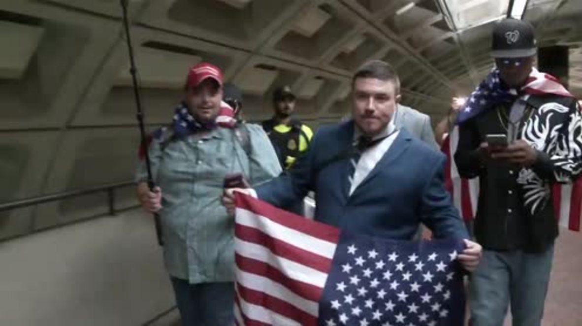 """EE. UU.: """"Derecha unida 2"""" se cruza cara a cara con los antifascistas en Washington D. C."""