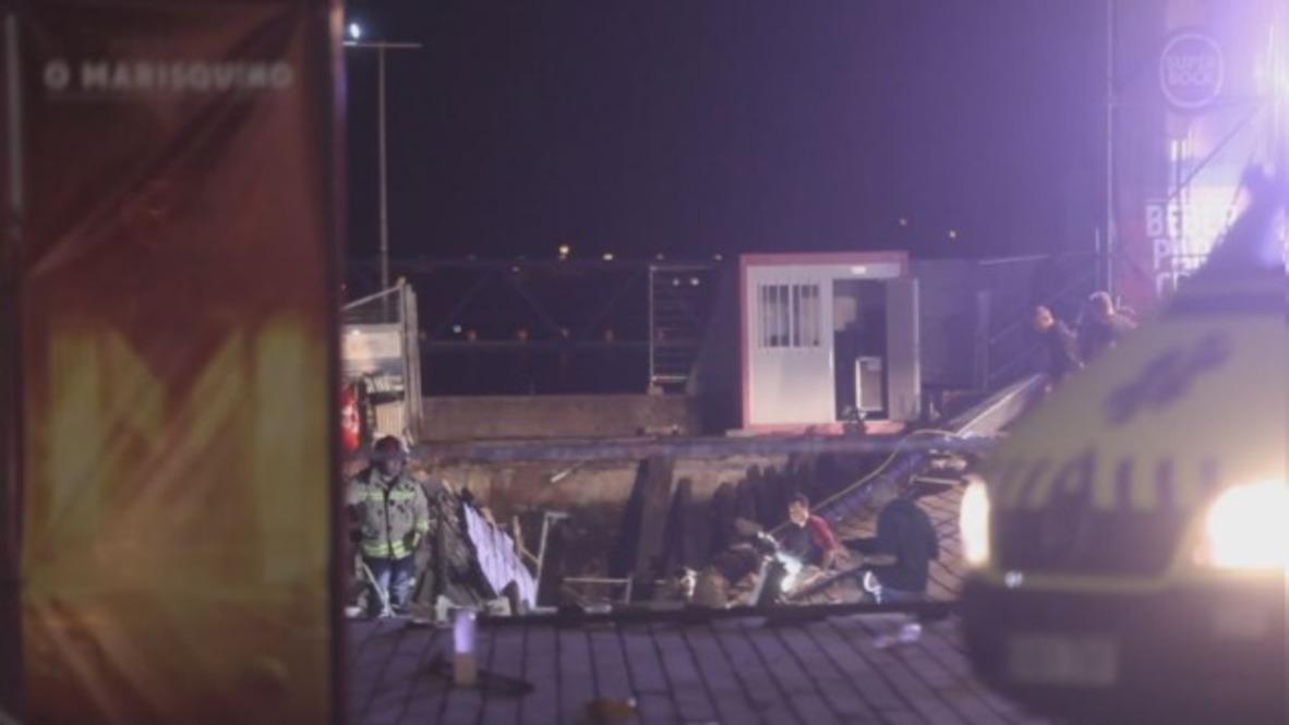 España: Socorristas realizan operaciones en el lugar del derrumbe del paseo marítimo de Vigo