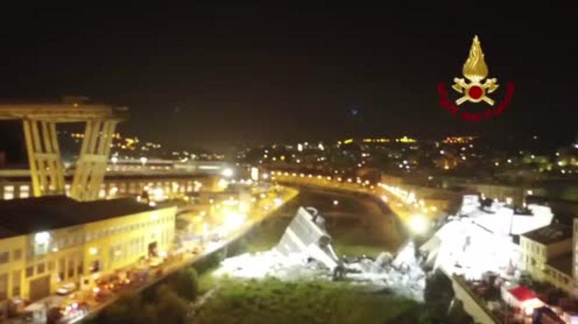 Italy: Drone captures night search for Genoa bridge survivors