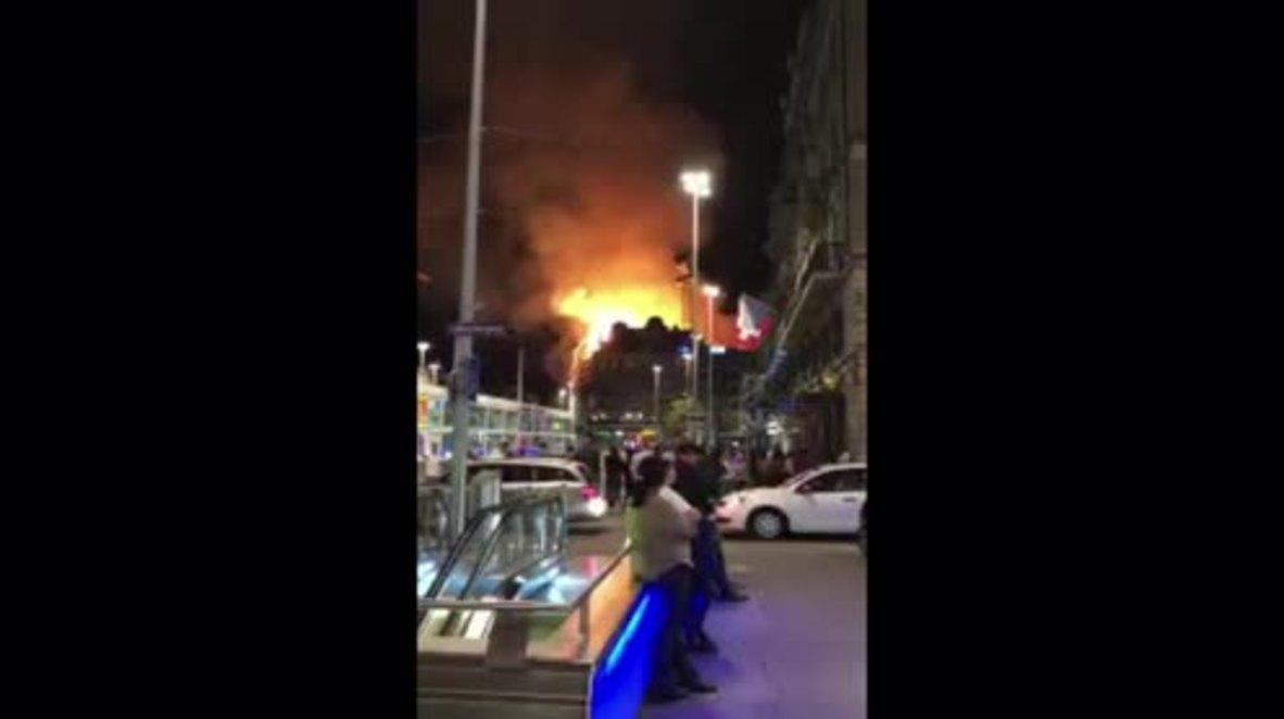 Switzerland: Fire engulfs building near Zurich main station