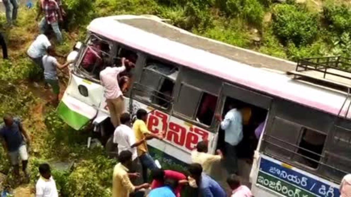 India: Bus crash kills at least 53 in Telangana state *GRAPHIC*