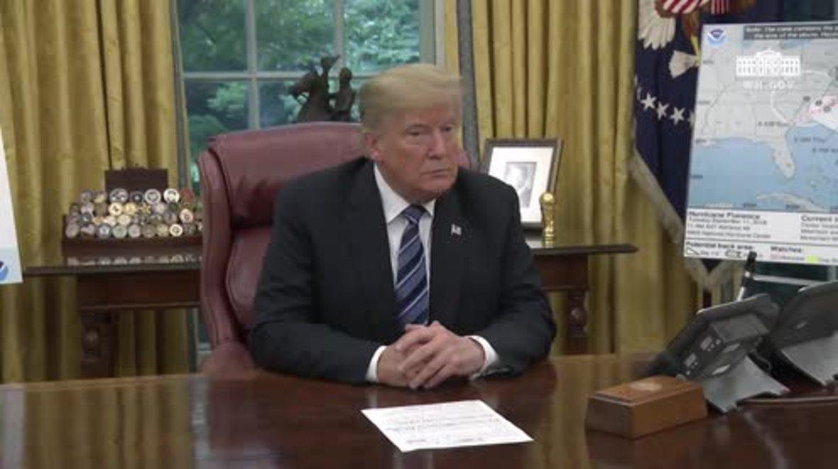 """EE.UU.: """"Habrá enormes cantidades de agua"""" - Trump sobre la llegada del huracán Florence"""
