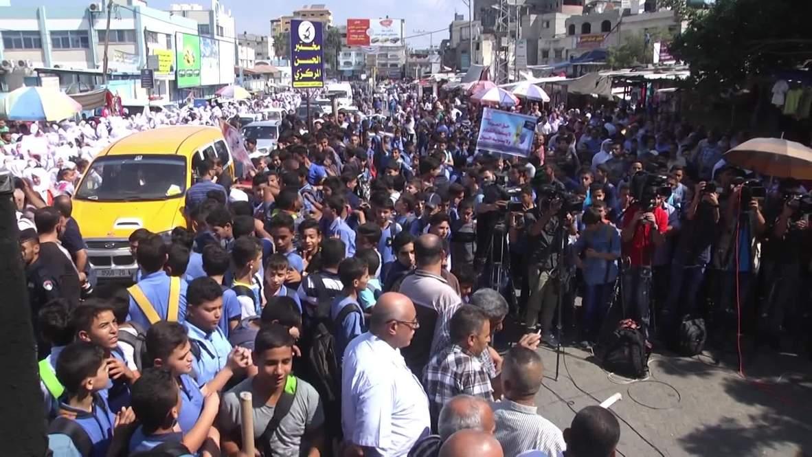 Estado de Palestina: Estudiantes y profesores protestan contra los recortes de EE.UU. en la financiación de UNRWA
