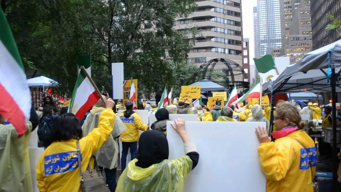 EE.UU.: Cientos de personas protestan en el exterior de la sede de la ONU contra la presencia de Rohaní en la Asamblea General