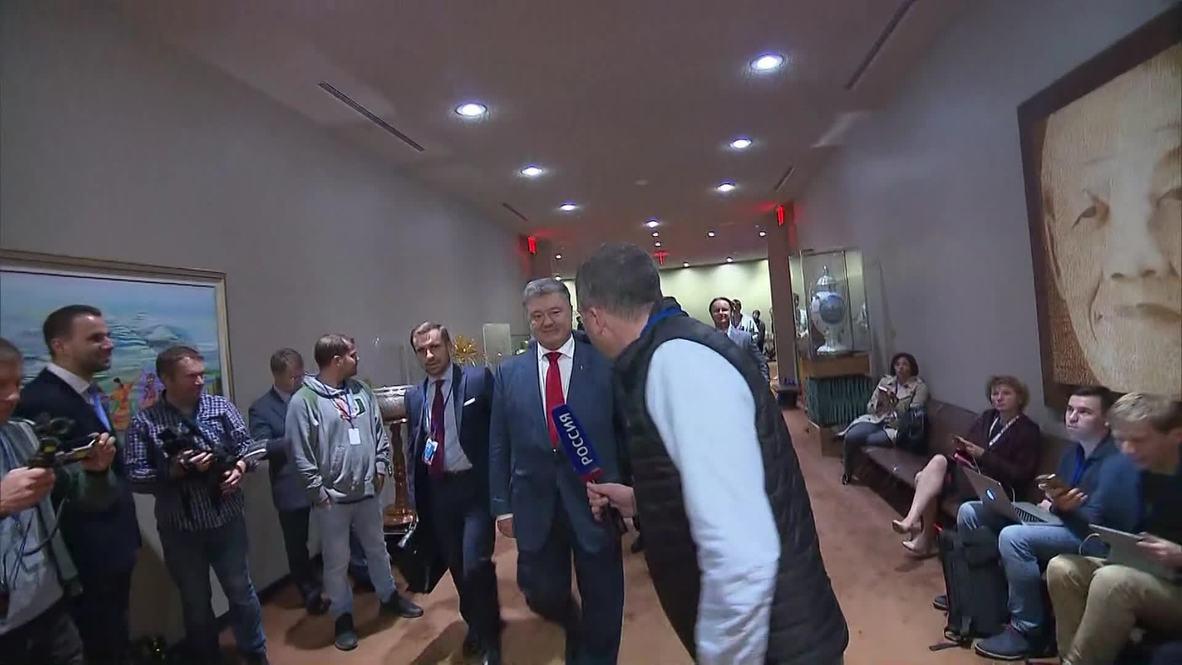 """ONU: Poroshenko entra accidentalmente en la habitación de la delegación rusa huyendo de las """"fake news"""