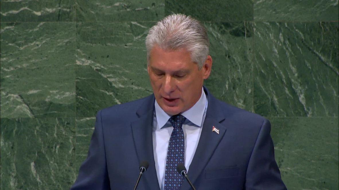 """ONU: El presidente cubano Díaz-Canel critica la """"política cruel"""" del bloqueo estadounidense a la isla"""