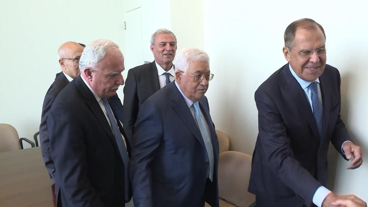 UN: Lavrov meets Palestinian President Abbas