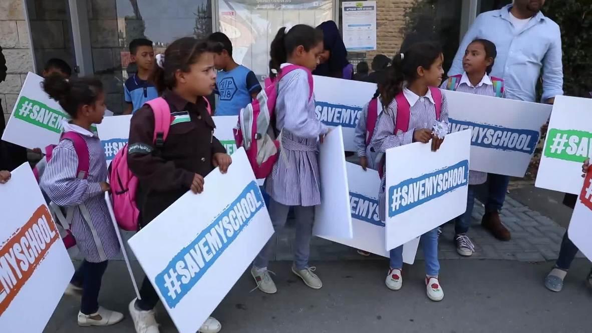 Israel: West Bank school pupils protest in Jerusalem as Merkel visits