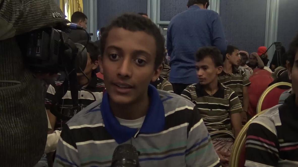 Yemen: Un grupo de niños liberados por los hutíes se reúnen con sus familias