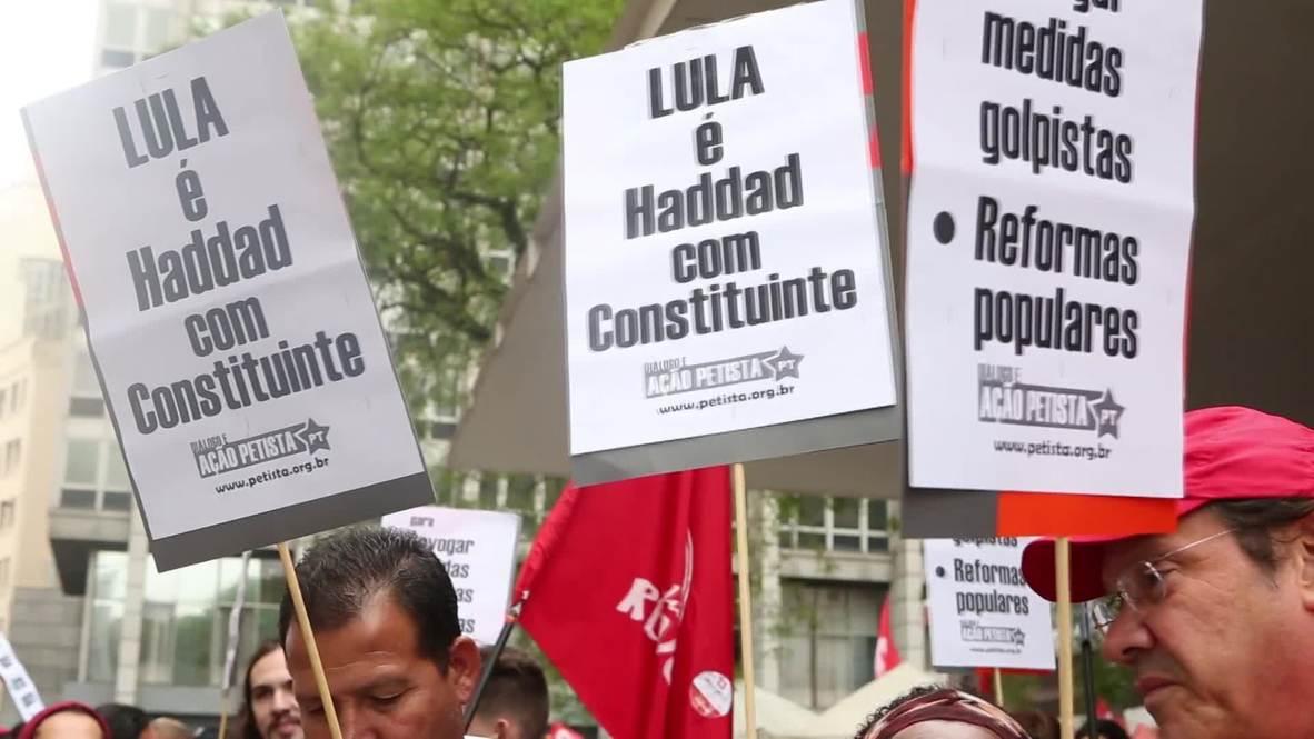 Brasil: Partidarios de Haddad marchan por Sao Paulo antes de las elecciones del domingo