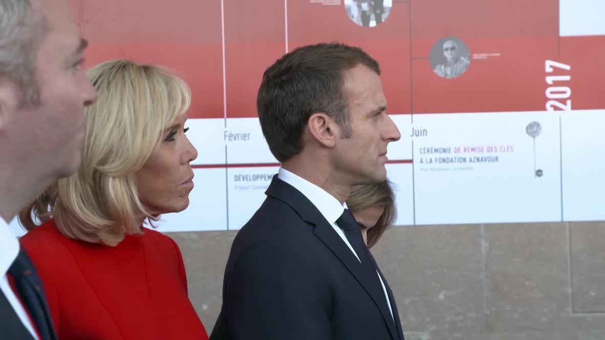 Armenia: Macron inagurates Aznavour Foundation in Yerevan