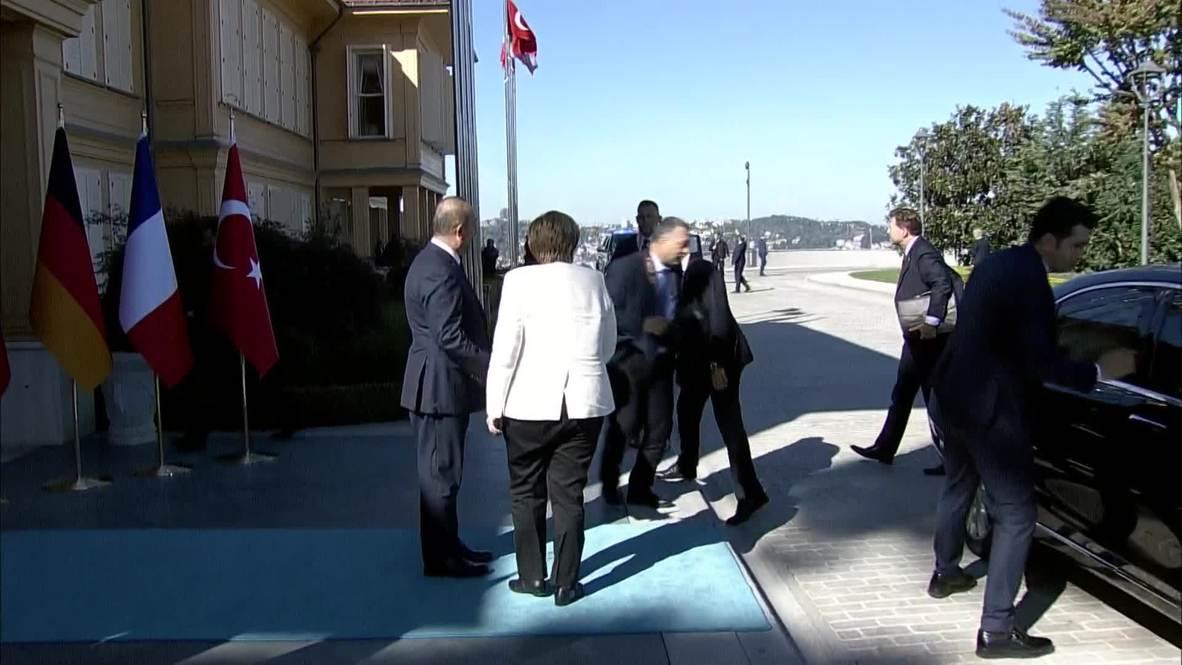 Turkey: Merkel and Macron arrive at venue for Istanbul summit on Syria