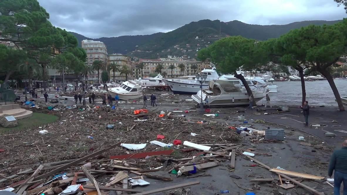 Italia: Una tormenta arrastra varios yates hasta la orilla en un pueblo de Liguria