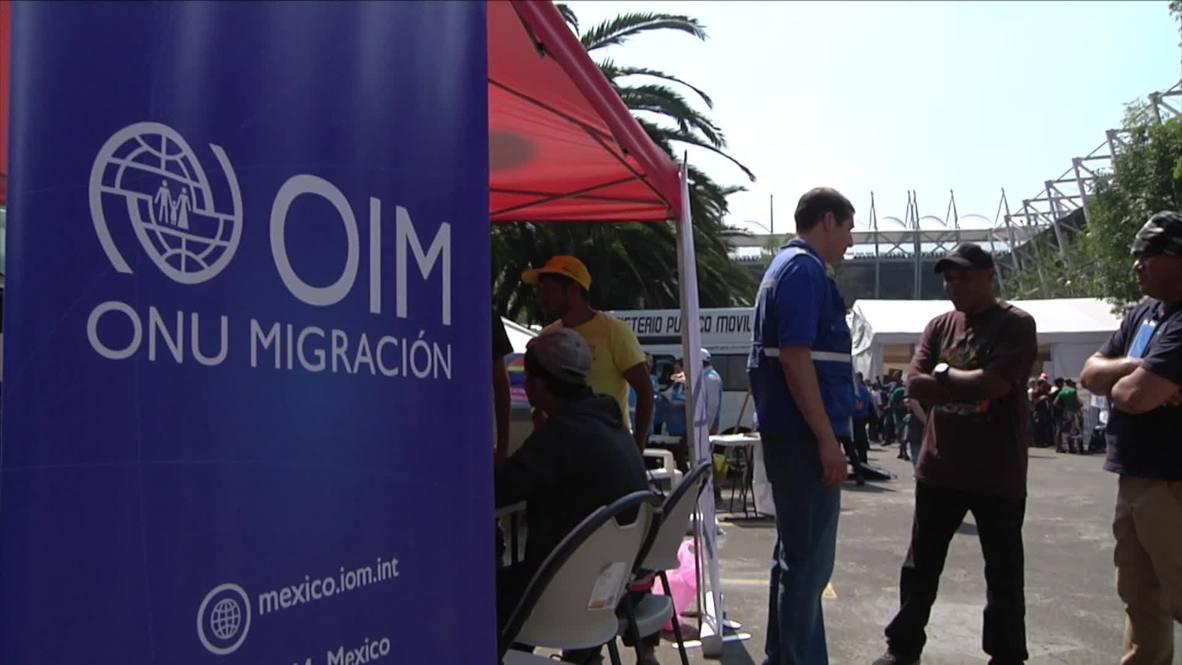 Mexico: Migrants from caravan receive aid in Mexico City Stadium
