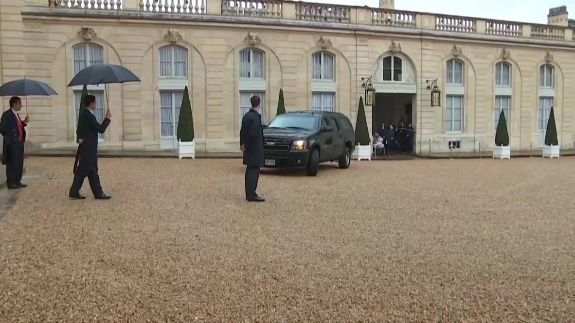 Francia: Brigitte Macron saluda a Melania Trump en el Palacio del Elíseo
