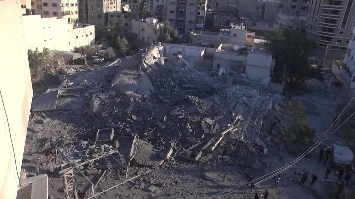 Palestina: El hotel Al-Amal queda destruido después de los ataques aéreos israelíes en Gaza