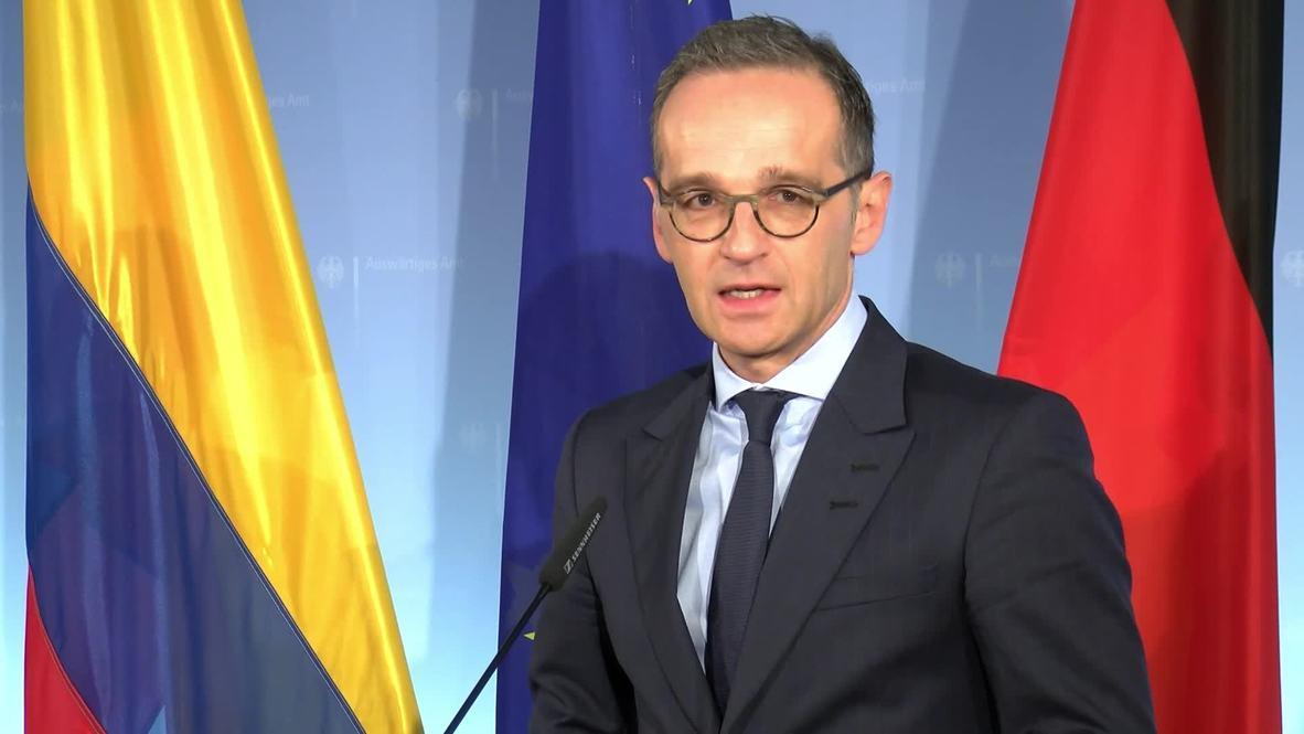 Alemania: Ministro federal de Asuntos Exteriores, Heiko Maas, habla sobre la paz y colaboración con su homólogo colombiano