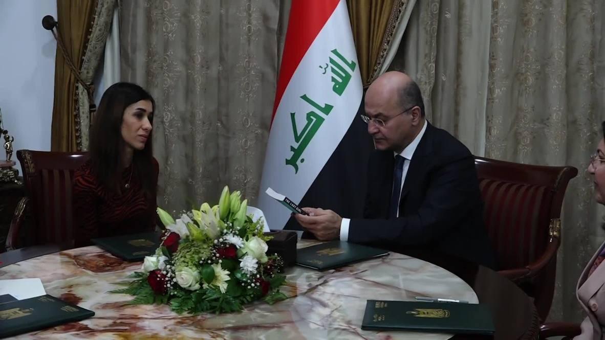 Iraq: Nobel Peace Prize winner Nadia Murad welcomed home by president