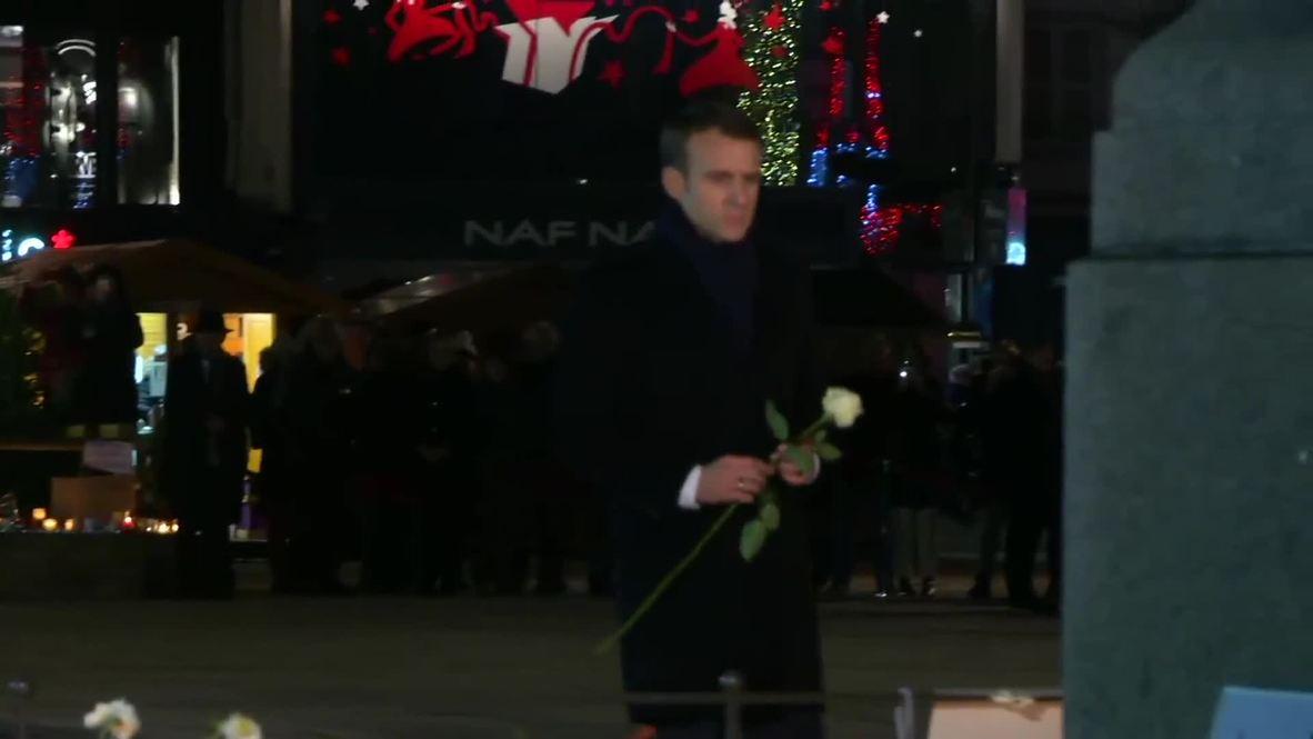 Francia: Macron visita el mercado navideño después de su reapertura tras el tiroteo en Estrasburgo
