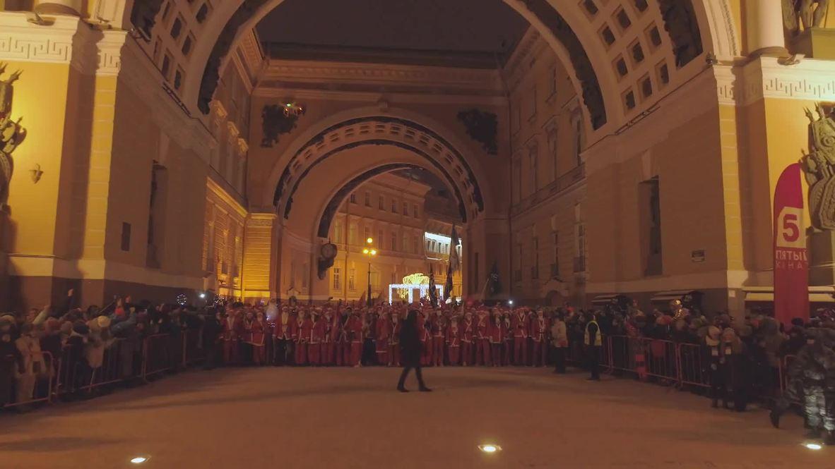 Santa Claus galore compete in 2km dash to bring Christmas spirit to St. Petersburg