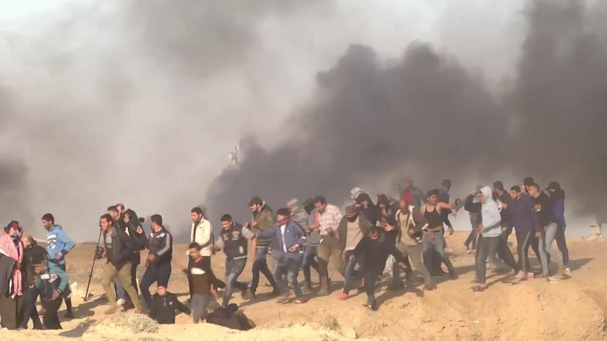 Estado de Palestina: Enfrentamientos entre las fuerzas israelíes y manifestantes palestinos en la frontera de Gaza