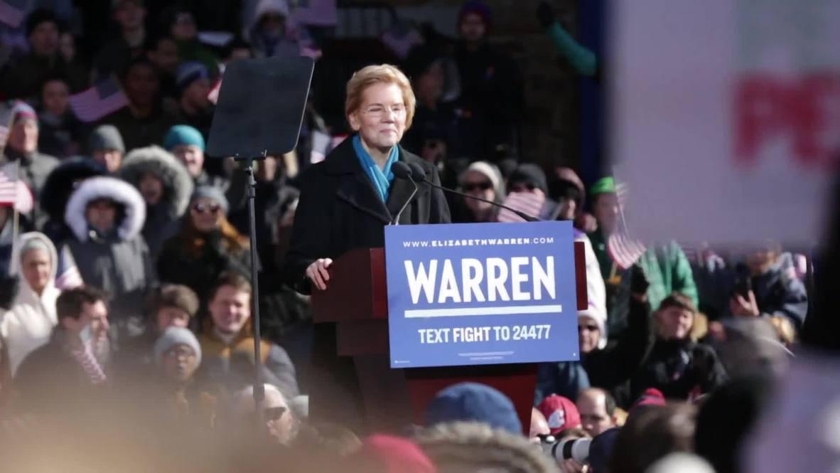 USA: Senator Elizabeth Warren announces 2020 presidential bid