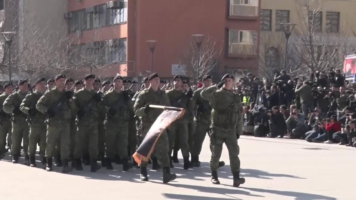 Serbia: Kosovo military parades in Pristina on independence declaration anniv.