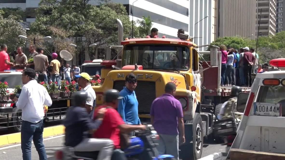 Venezuela: Camioneros protestan a favor de Guaidó en Caracas
