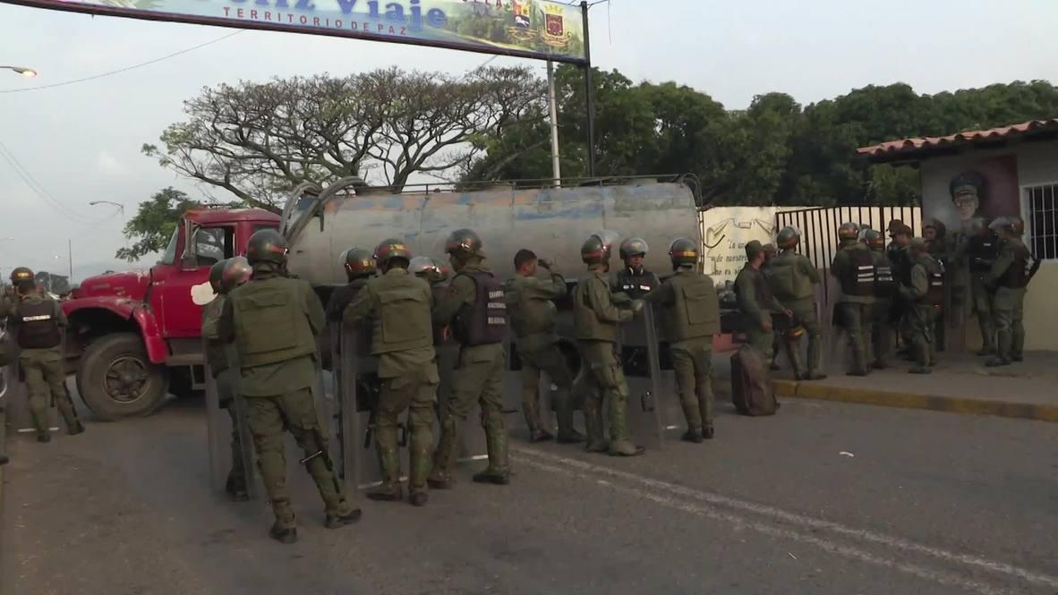 Venezuela: National guard ready to block aid at Colombian border