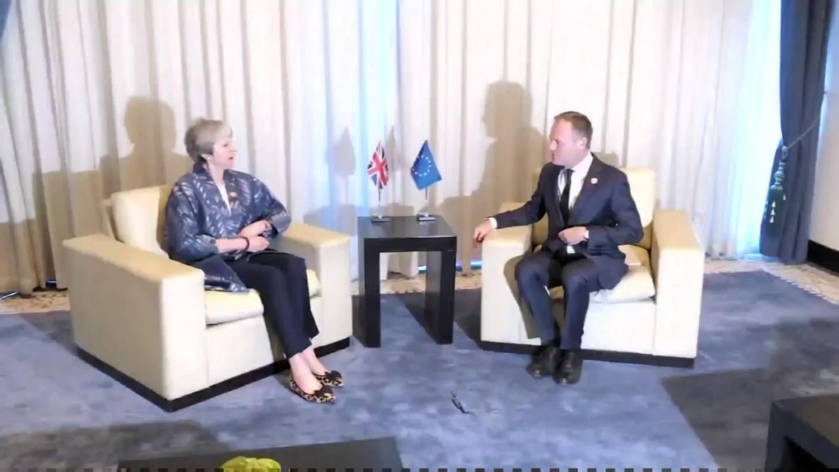 Egypt: Theresa May meets Tusk on EU-Arab summit sidelines