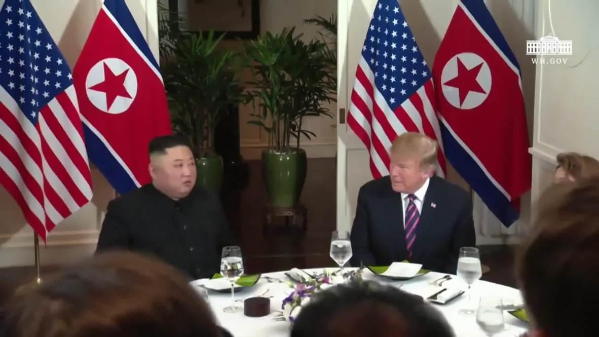 Vietnam: Trump y Kim Jong-un se sientan a cenar en Hanoi