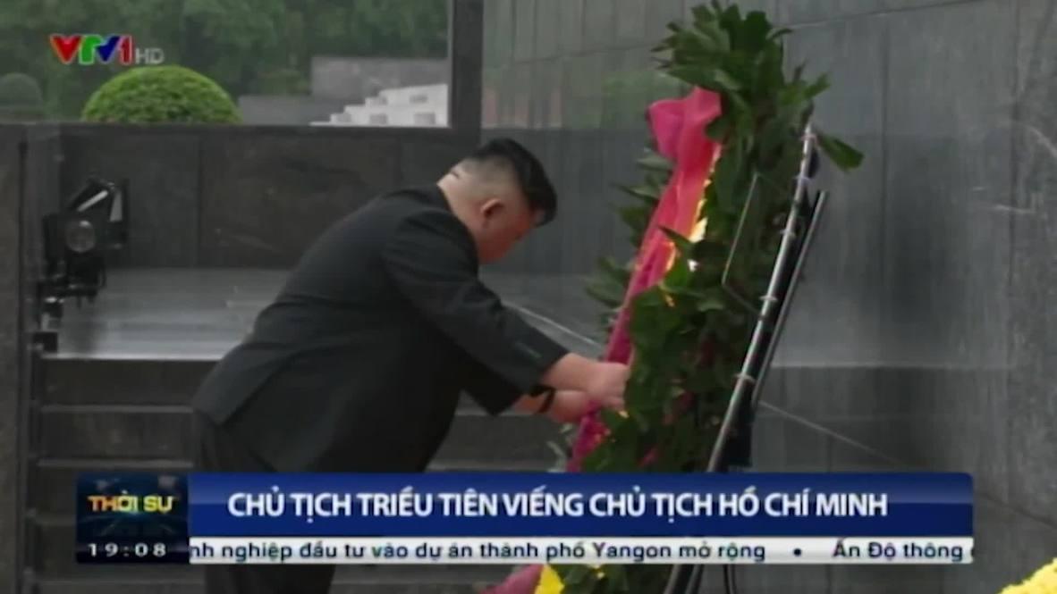 Vietnam: Kim Jong-un pays tribute at Ho Chi Minh memorial in Hanoi