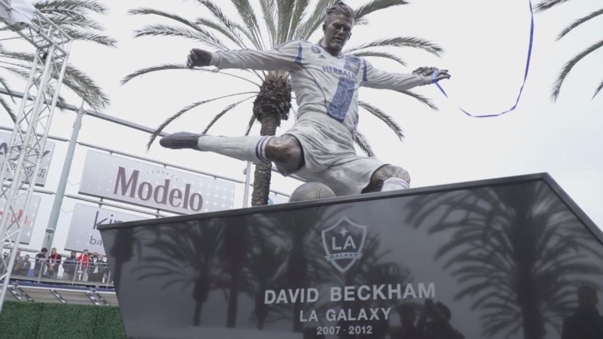 USA: LA Galaxy unveils David Beckham statue in Los Angeles