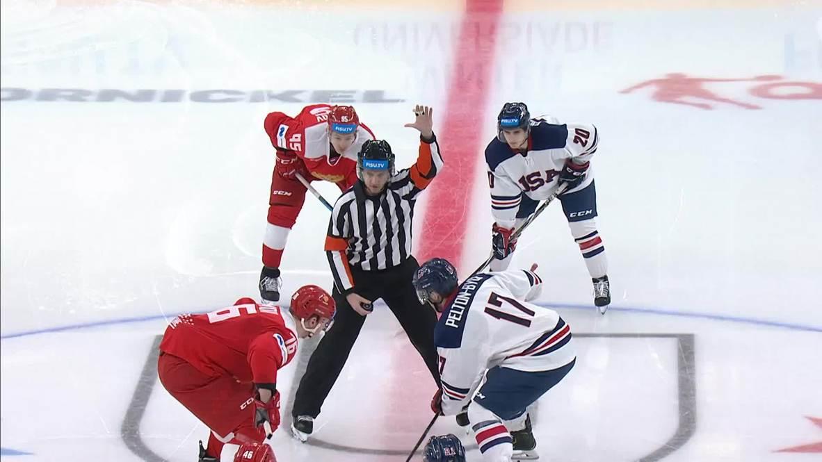 Rusia: El equipo ruso masculino de hockey derrota a Estados Unidos 3 - 2 en Krasnoyarsk