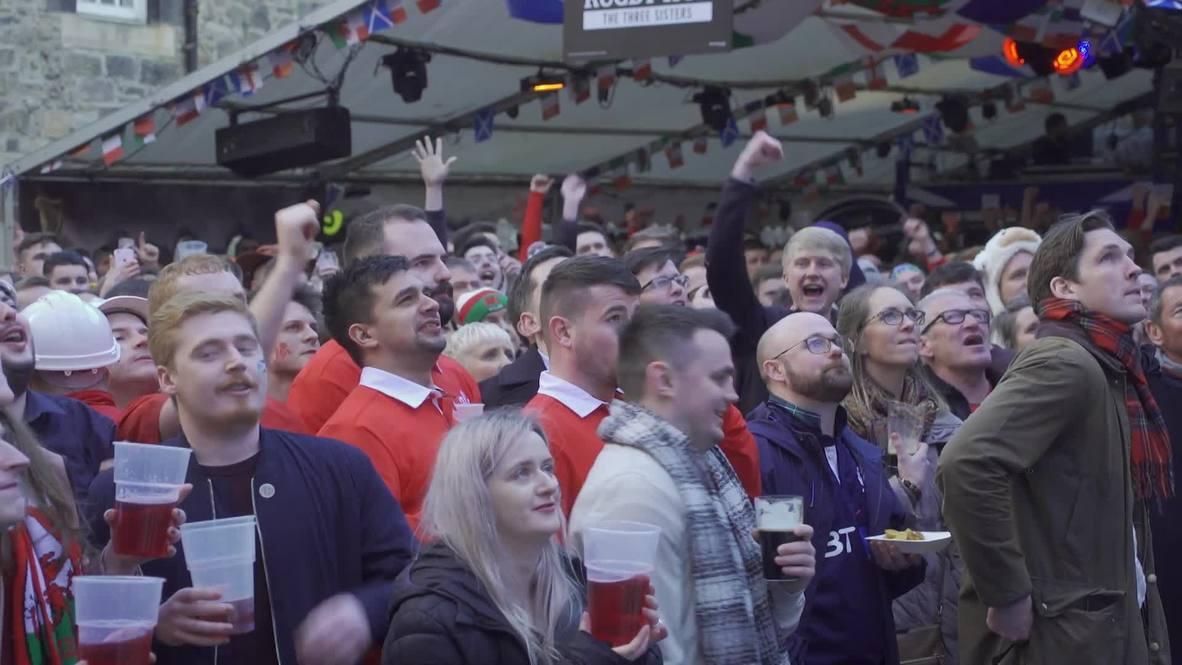 Reino Unido: Aficionados de Gales celebran victoria 18 - 11 sobre Escocia en Edimburgo