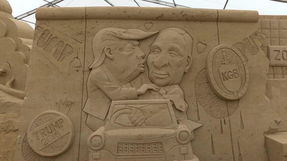 ¡Sin lengua por favor! Trump le da un beso a Putin en un festival de escultura alemán