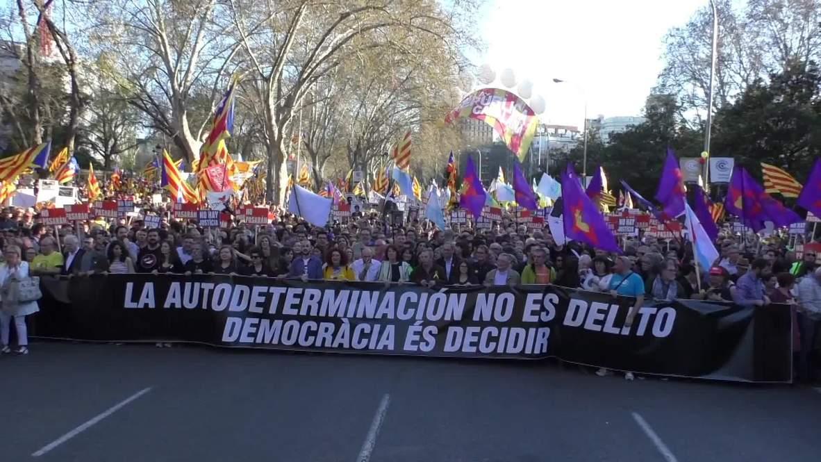 España: Marcha contra el juicio de los presos políticos catalanes