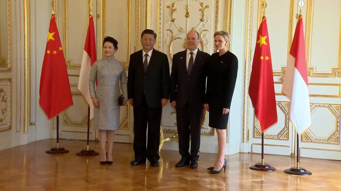 Monaco: Prince Albert II and Princess Charlene receive China's Xi and wife