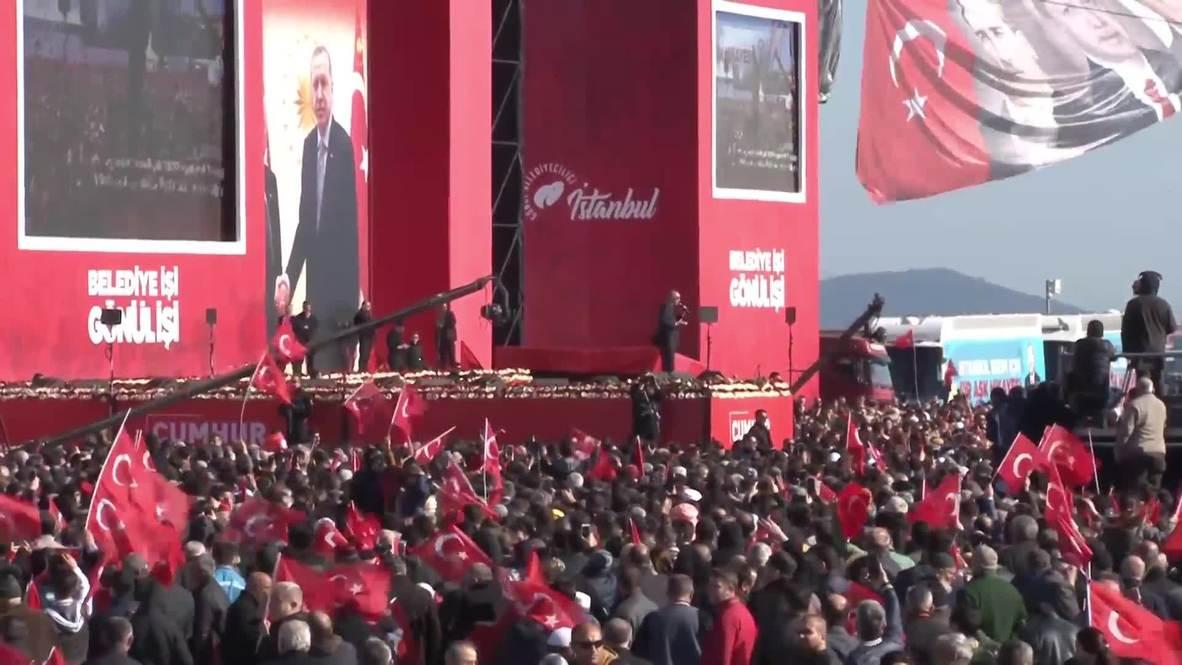 Turkey: Erdogan rallies party faithful before next week's local elections