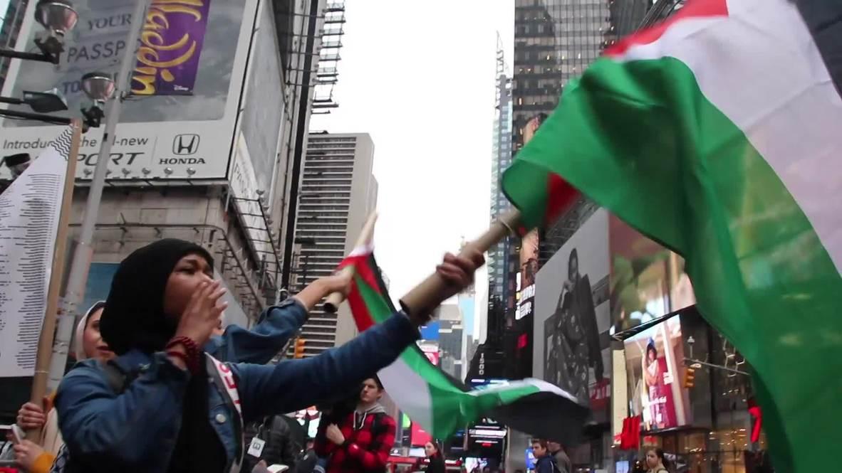 """США: Протесты в Нью-Йорке в честь """"Великого марша возвращения"""""""