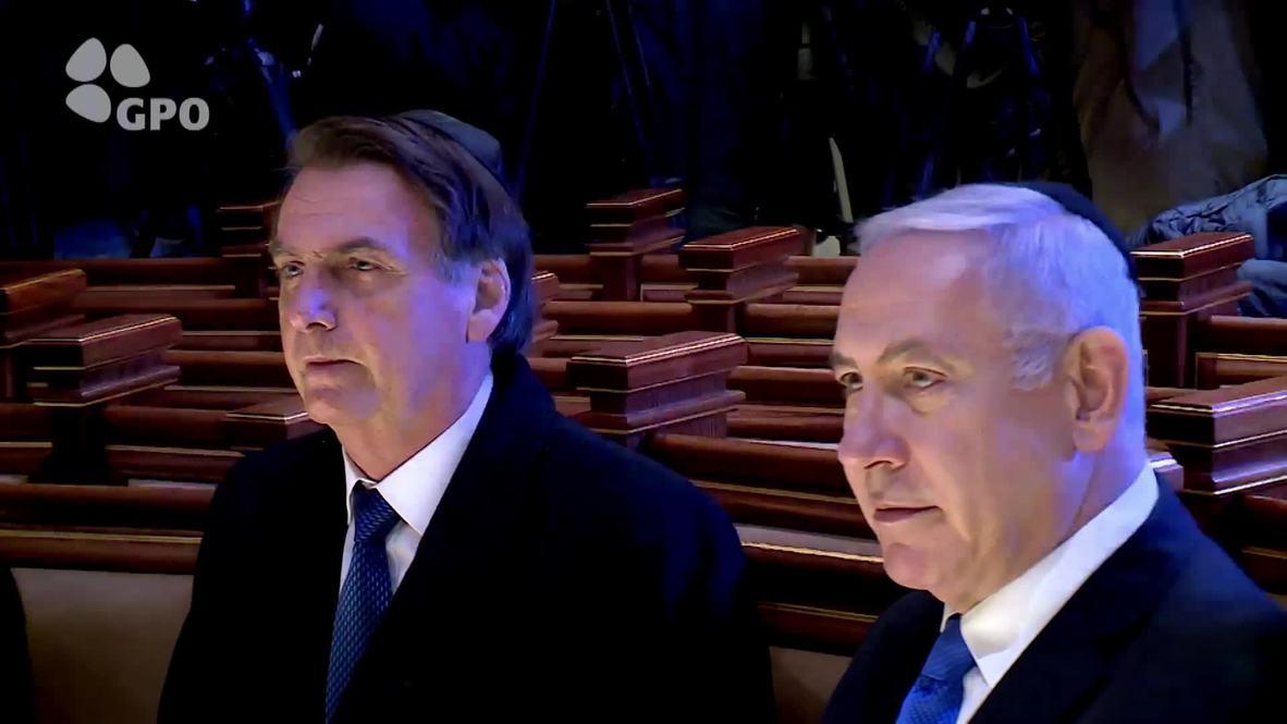 Israel: Bolsonaro visita el Muro de las Lamentaciones junto a Netanyahu
