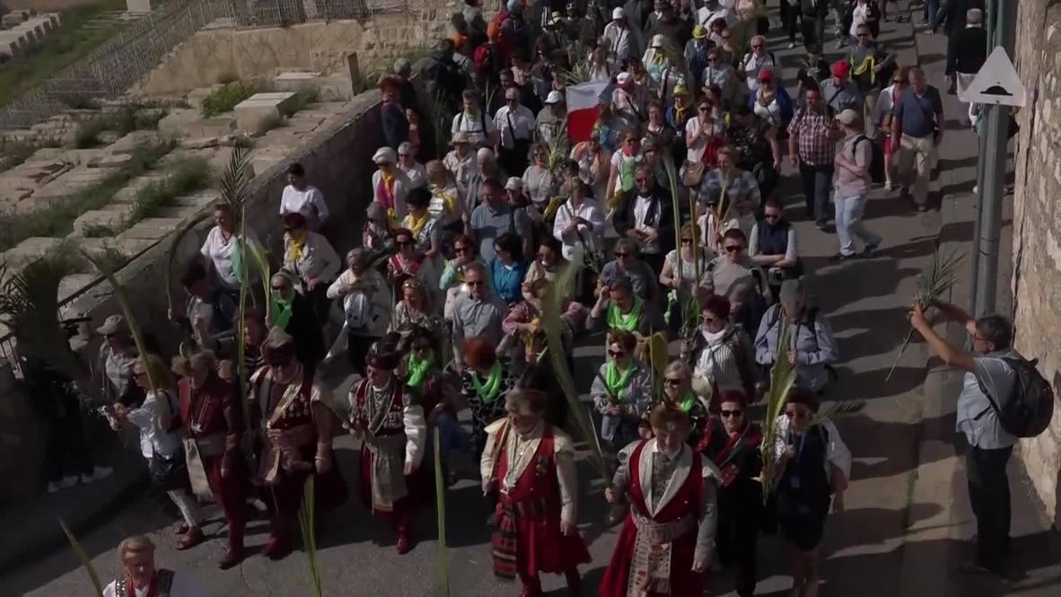 Jerusalén Este: Miles de peregrinos conmemoran el Domingo de Ramos