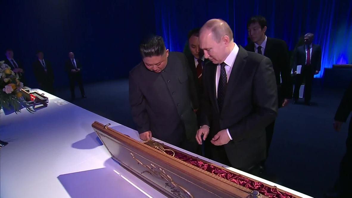 En garde! Putin and Kim exchange ceremonial swords at Vladivostok summit
