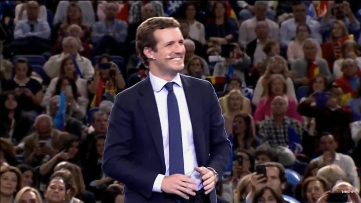 """España: Casado cierra la campaña electoral del PP instando a sus partidarios a """"votar con cabeza"""""""