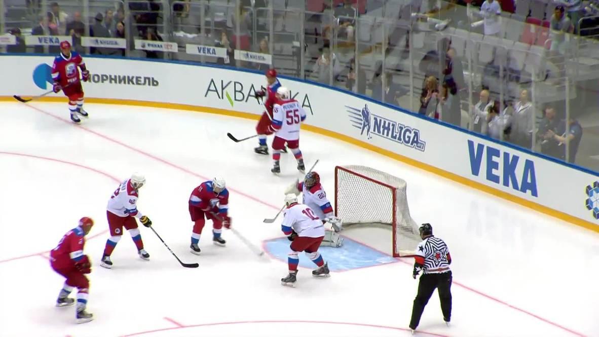 Rusia: Un Putin goleador anota diez puntos en partido de la Liga de Hockey Nocturno