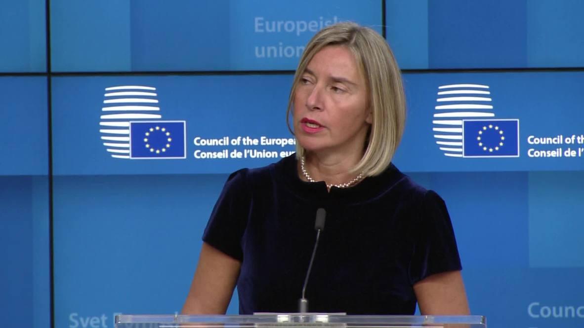 Belgium: Mogherini calls for 'maximum restraint' in Iran nuclear deal dispute