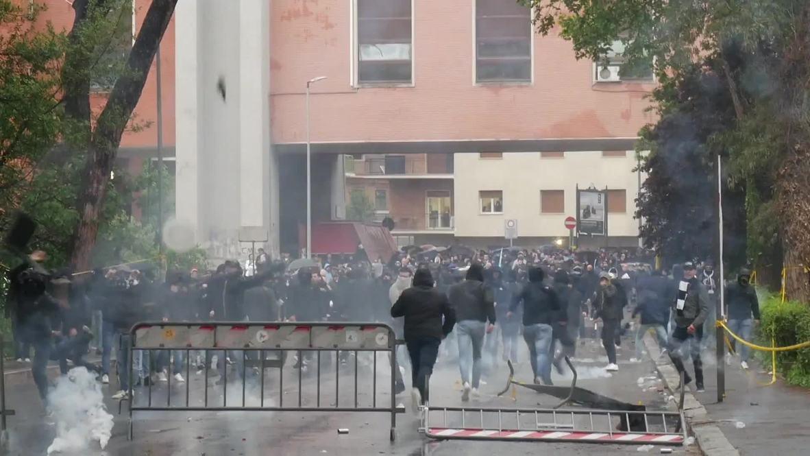 Italy: Lazio ultras clash with police before Coppa Italia Final in Rome