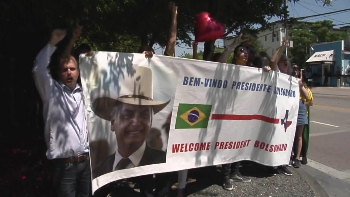 USA: Competing protests surround Bolsonaro's Texas visit